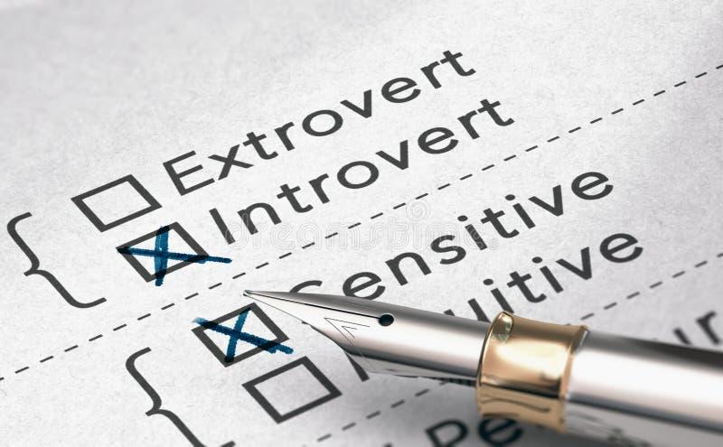 Van het van het persoonlijkheidstest, Extravert of Introvert Persoon vector illustratie