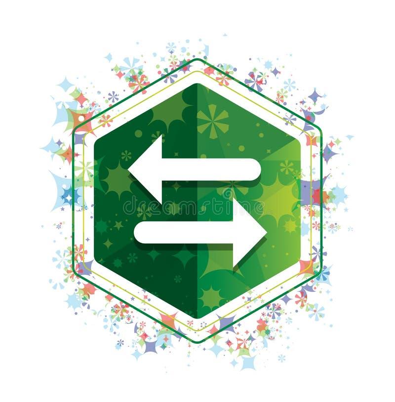 Van het pictogram bloemeninstallaties van de overdrachtpijl het patroon groene hexagon knoop stock illustratie
