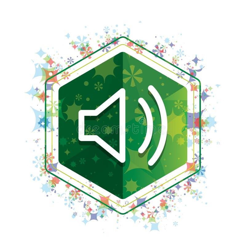 Van het pictogram bloemeninstallaties van de volumespreker het patroon groene hexagon knoop vector illustratie