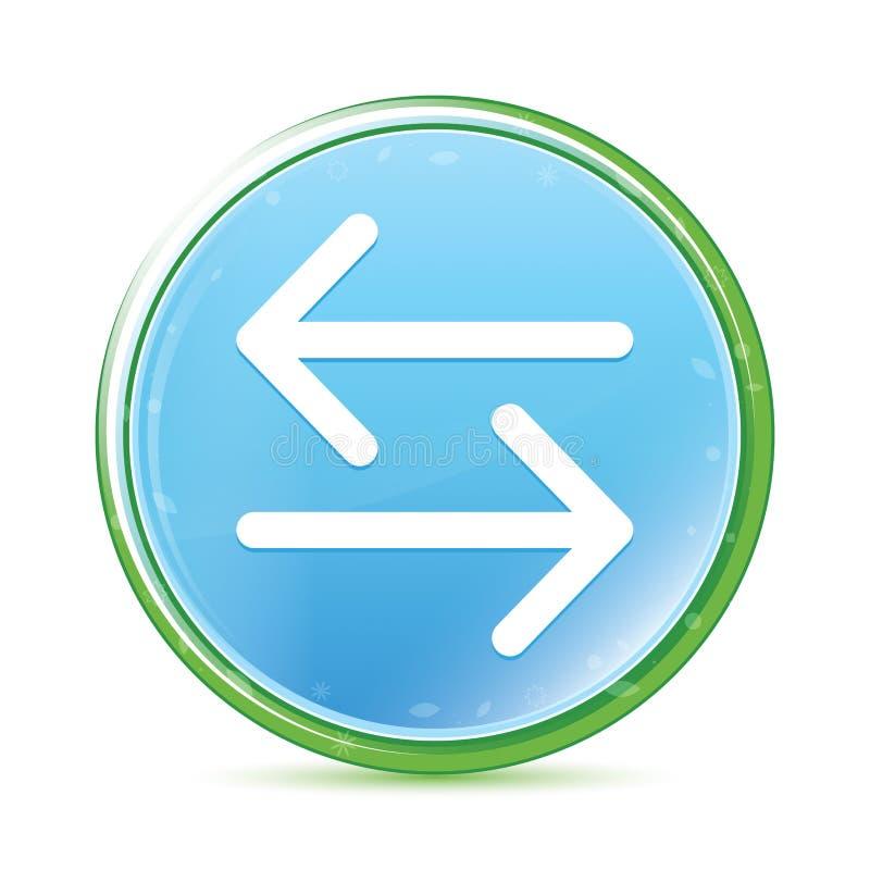 Van het pictogram de natuurlijke aqua van de overdrachtpijl cyaan blauwe ronde knoop stock illustratie