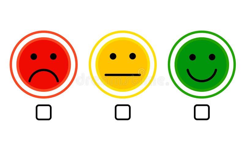 Van het het pictogram de positieve, negatieve neutrale advies van de gezichtsglimlach tekens van de het tariefknoop vector op wit royalty-vrije illustratie
