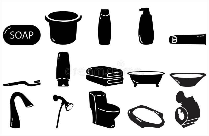 Van het het pictogram de vastgestelde ontwerp van het badkamerspunt Stevige stijl vector illustratie
