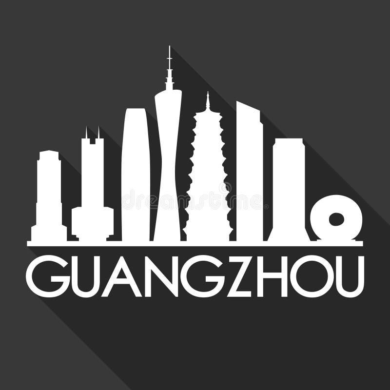 Van het Pictogram de Vectorart flat shadow design skyline van Guangzhouchina Azië van het de Stadssilhouet Zwarte Achtergrond stock illustratie