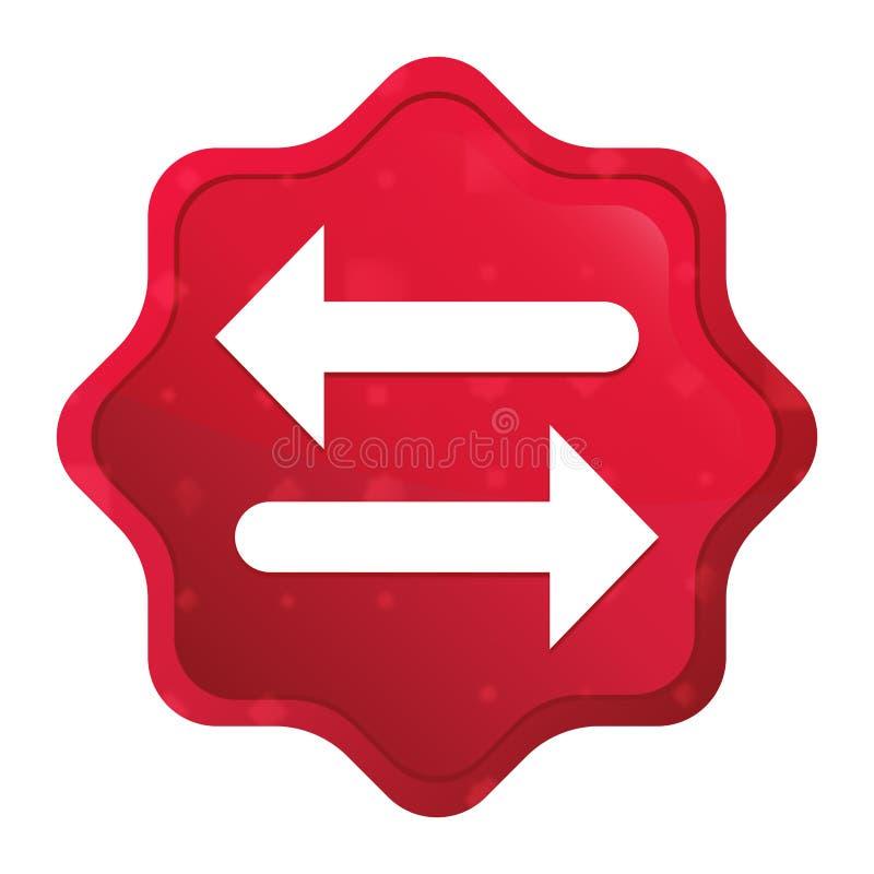Van het pictogram nevelige rozerode starburst van de overdrachtpijl de stickerknoop stock illustratie
