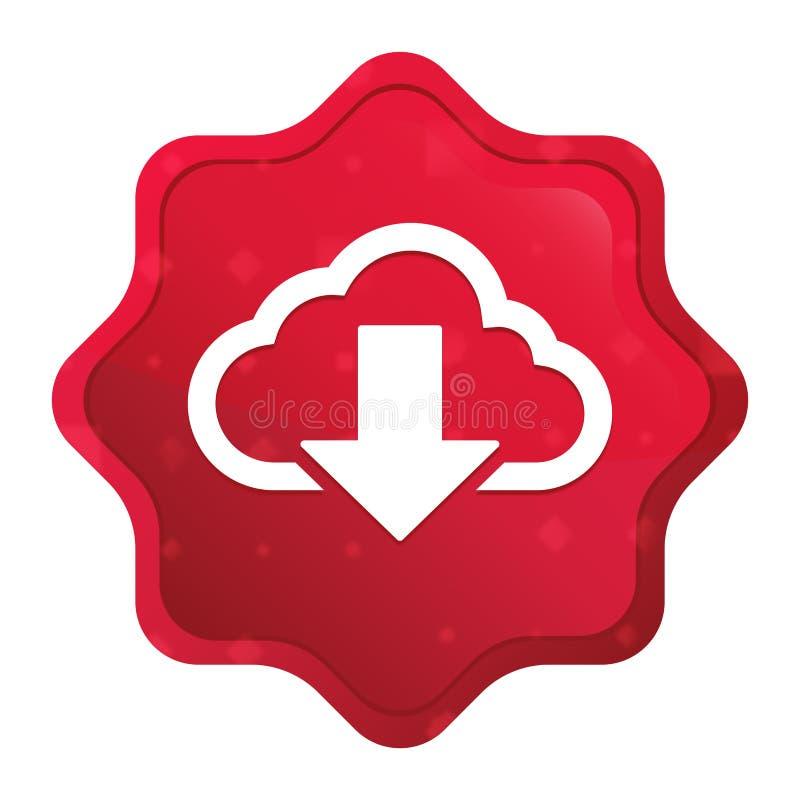 Van het pictogram nevelige rozerode starburst van de wolkendownload de stickerknoop vector illustratie