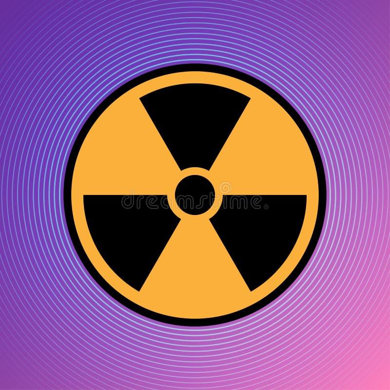 Van het het pictogram radioactieve teken van het gevaarsgevaar de kern van het de aandachtsuranium atoomillustratie vectoreps 10 vector illustratie