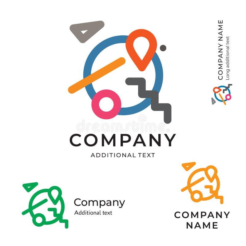 Van het het Pictogram Reizend Symbool van aarde Modern Art Logo Abstract Design Identity Brand het Concepten Vastgesteld Malplaat stock illustratie