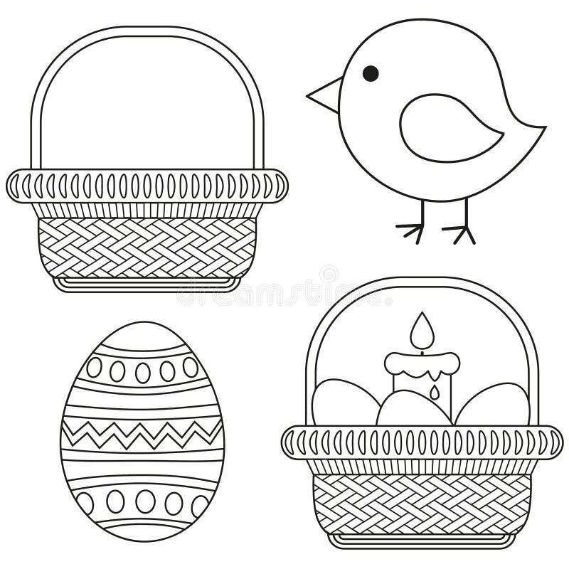 Van het het pictogram vastgestelde kuiken van Pasen van de lijnkunst de zwart-witte van het de kaarsei reeks van het de mandpicto vector illustratie