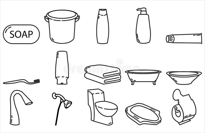 Van het het pictogram vastgestelde ontwerp van het badkamerspunt de lijnstijl stock afbeelding