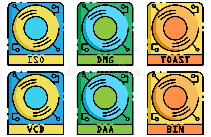 Van het het pictogram vastgestelde Ontwerp van het schijfbeeld Vlakke het Overzichtsstijl stock foto