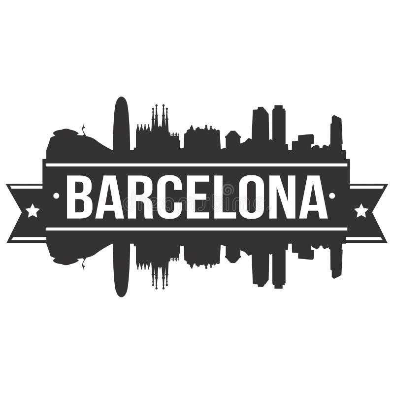 Van het Pictogram Vectorart design skyline flat city van Barcelona Spanje het Euro Europa Malplaatje van het Silhoueteditable stock illustratie