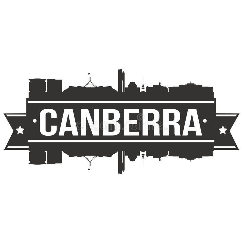 Van het Pictogram het Vectorart design skyline flat city van Canberra Australië Malplaatje van het Silhoueteditable royalty-vrije illustratie