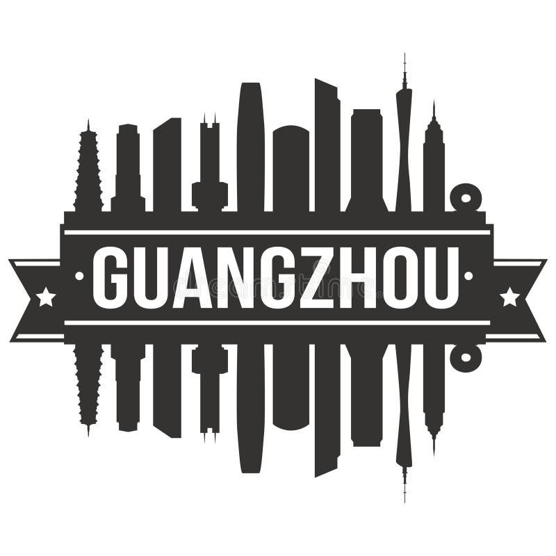 Van het Pictogram het Vectorart design skyline flat city van Guangzhouchina Azië Malplaatje van het Silhoueteditable stock illustratie