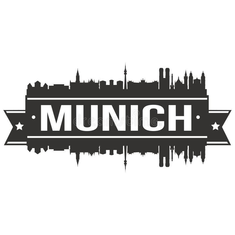 Van het Pictogram Vectorart design skyline flat city van München Duitsland het Euro Europa Malplaatje van het Silhoueteditable royalty-vrije illustratie