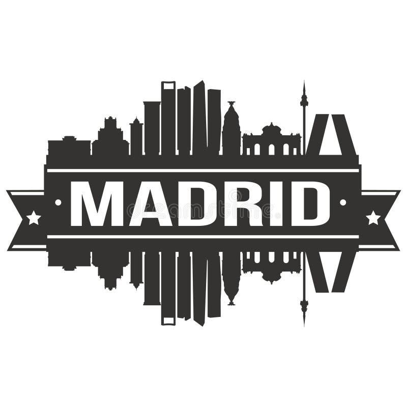 Van het Pictogram Vectorart design skyline flat city van Madrid Spanje het Euro Europa Malplaatje van het Silhoueteditable vector illustratie