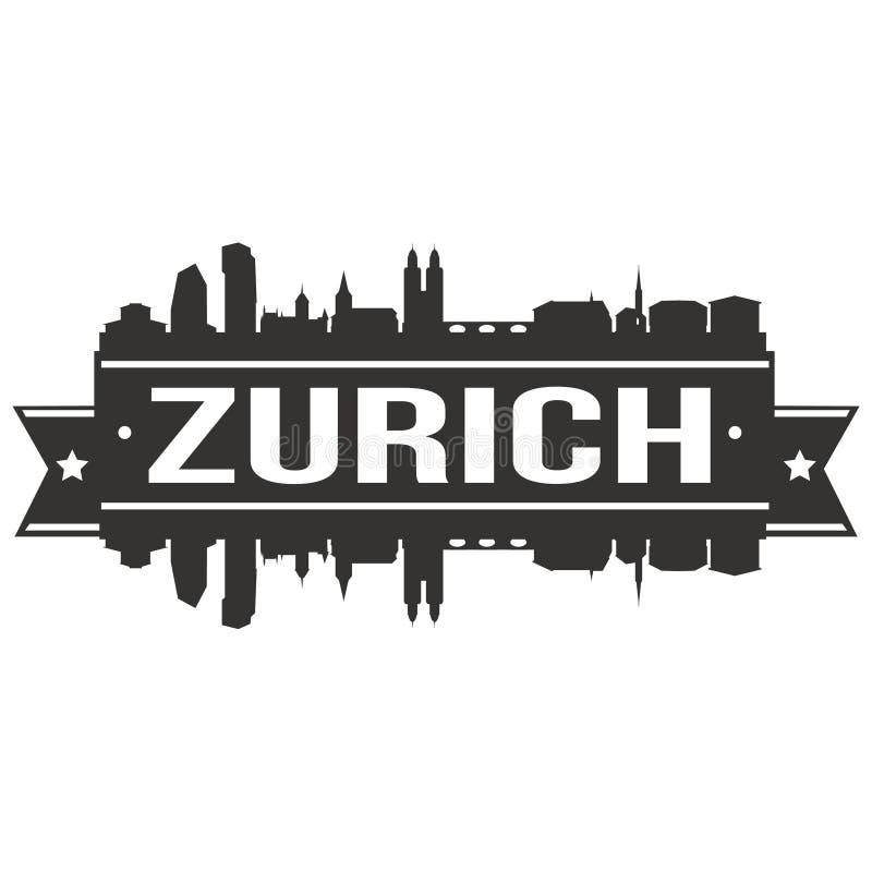 Van het Pictogram Vectorart design skyline flat city van Zürich Zwitserland Europa het Euro Malplaatje van het Silhoueteditable vector illustratie