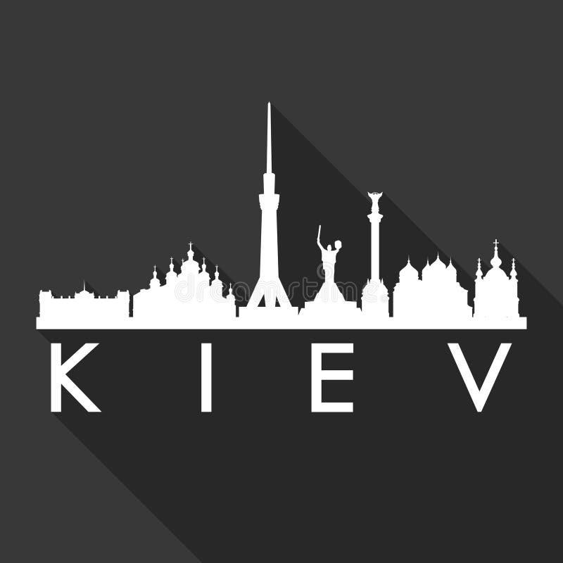 Van het Pictogram Vectorart flat shadow design skyline van Kiev de Oekraïne Europa de Euro van het de Stadssilhouet Zwarte Achter vector illustratie