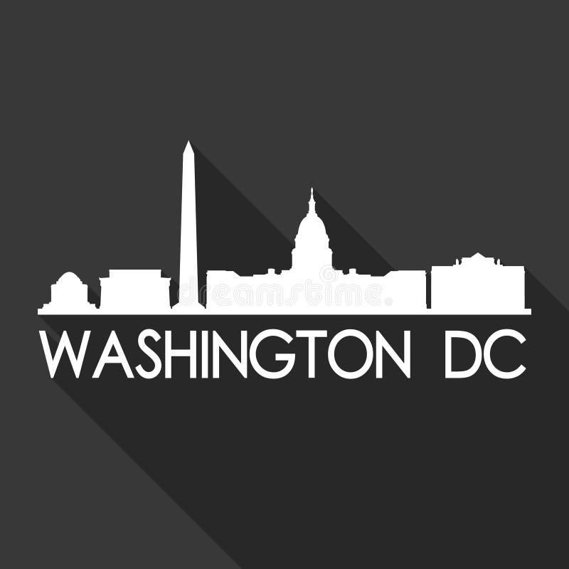 Van het Pictogram Vectorart flat shadow design skyline van Washington DCcolombia de Verenigde Staten van Amerika de V.S. van het  stock illustratie