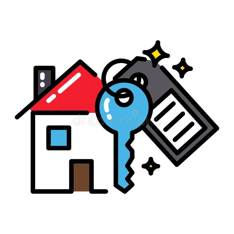 Van het het pictogramconcept van het hypotheekhuis zeer belangrijke zwarte geïsoleerd het overzichts kleurrijk vector illustratie