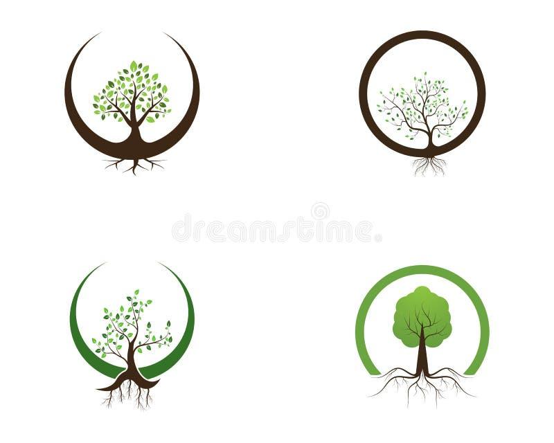 Van het het pictogramembleem van de aardboom het ontwerp vectorillustratie stock illustratie