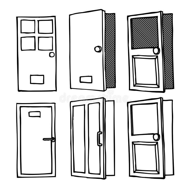 Van het het pictogramembleem van het deurvenster de vectorillustratie van de het symboolkrabbel stock illustratie