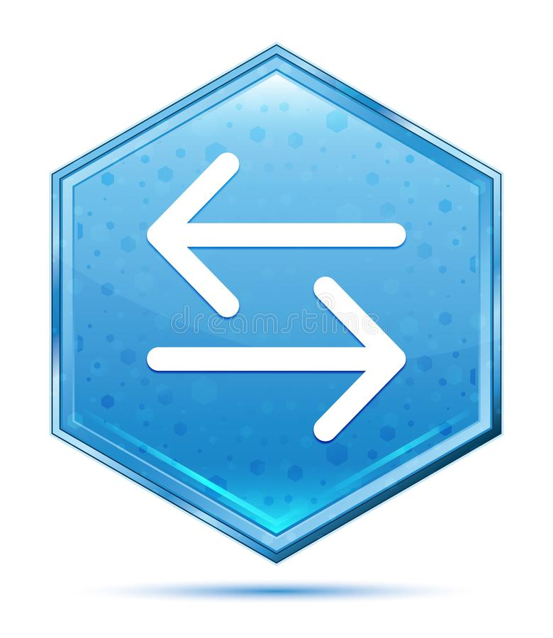 Van het het pictogramkristal van de overdrachtpijl de blauwe hexagon knoop stock illustratie