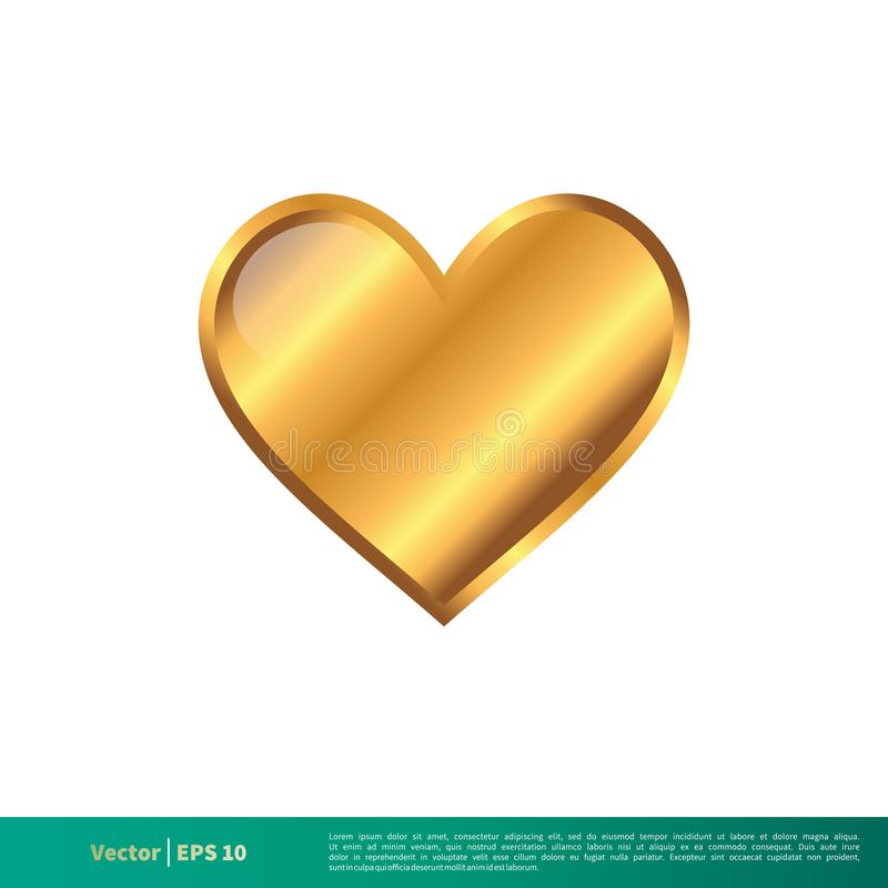 Van het het Pictogrammalplaatje van het liefde Gouden Hart Vector de Illustratieontwerp Editable vectoreps 10 stock illustratie