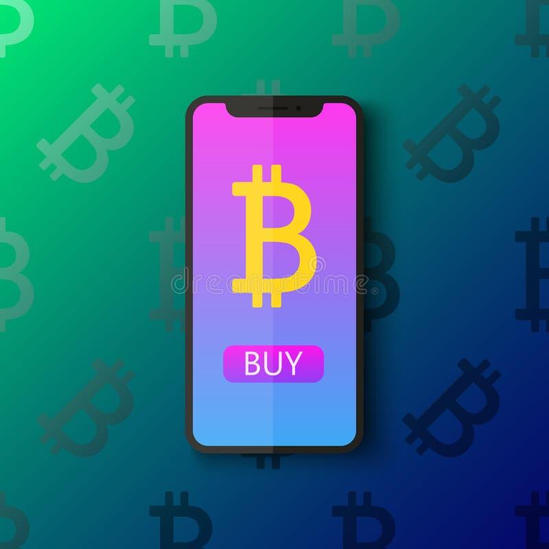 Van het het pictogramontwerp van de Bitcoin digitale portefeuille vlakke het symbool vectorillustratie Crypto munt Smartphone met royalty-vrije illustratie