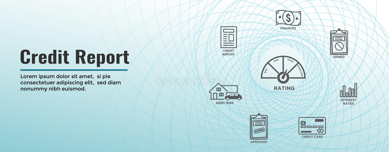 Van het het Pictogramreeks en Web van de kredietscore Kopbalbanner - Grafiek of Pasteigrafiekw Realistische Creditcard vector illustratie