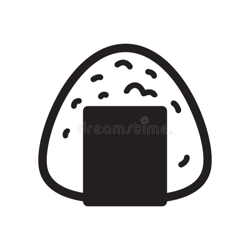 Van het pictogramsushi van het Onigiri vector Japanse voedsel van het het embleem grafische symbool het beeldverhaalillustratie royalty-vrije illustratie