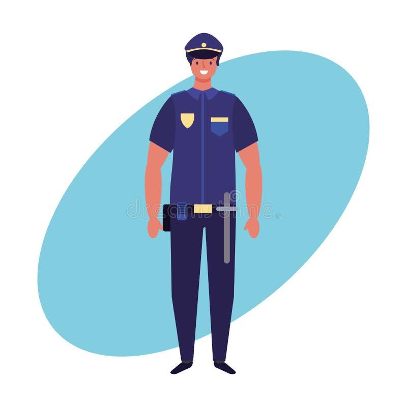 Van het politiemanbanen en beroep de hand trekt stock illustratie