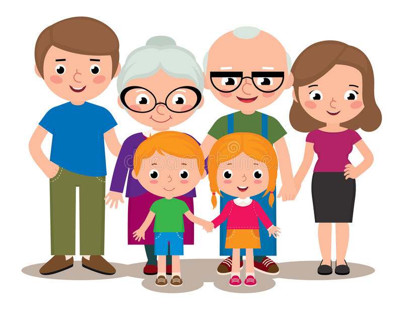 Van het portretouders van de familiegroep de grootouders en de kinderen royalty-vrije illustratie