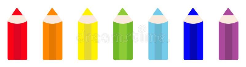 Van het het potloodpictogram van de regenboogkleur de vastgestelde lijn Terug naar schoolkaart Vlak Ontwerp Witte achtergrond Ge? stock illustratie
