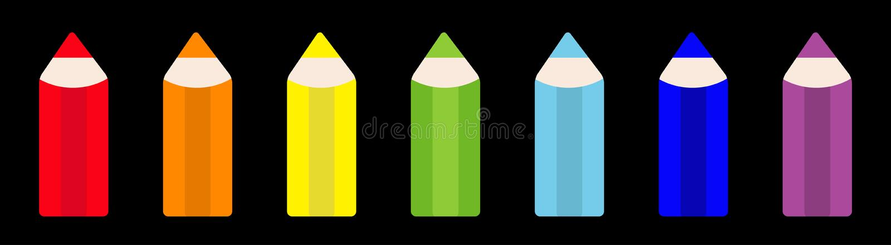 Van het het potloodpictogram van de regenboogkleur de vastgestelde lijn Terug naar schoolkaart Vlak Ontwerp Zwarte achtergrond Ge stock illustratie