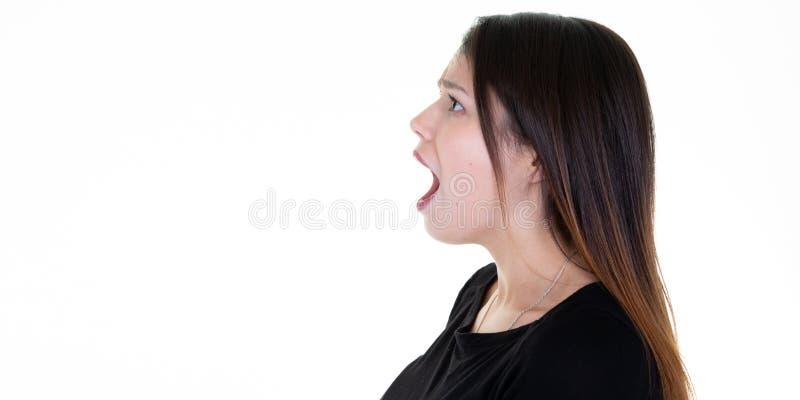 Van het het profielportret van het close-up zijaanzicht het jonge de vrouw spreken die met open mond schreeuwen stock afbeelding