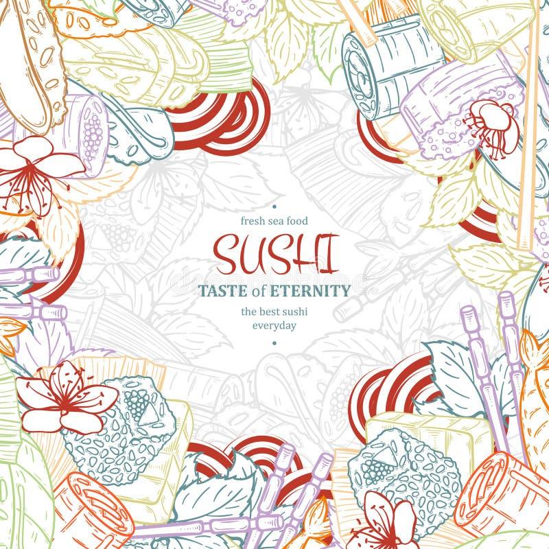 Van het het restaurantmenu van krabbelsushi het ontwerpmalplaatje Graveer Aziatisch voedselkader royalty-vrije illustratie
