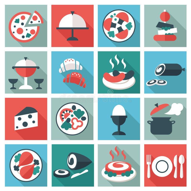 Van het restaurantvoedsel en werktuig pictogrammen stock illustratie