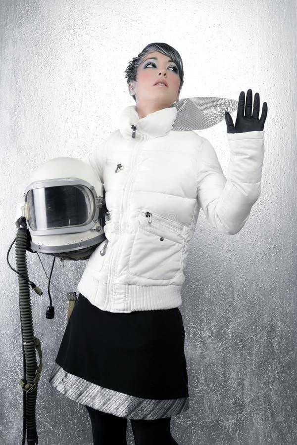 Van het ruimteschipvliegtuigen van de astronaut de vrouw van de de helmmanier royalty-vrije stock afbeeldingen