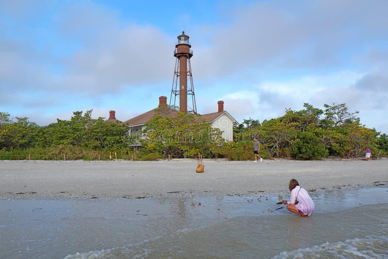 Van het Sanibeleiland of Punt het Licht van Ybel in Florida stock foto