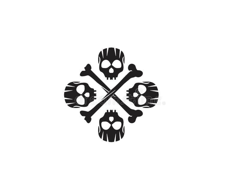 Van het schedel hoofdembleem en symbool vectoren vector illustratie
