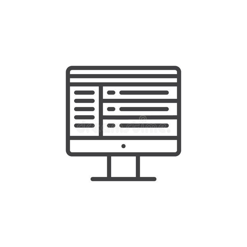 Van het het scherm online praatje van de computermonitor de lijnpictogram vector illustratie