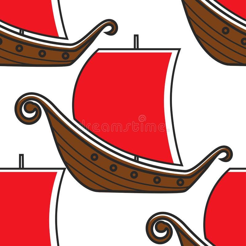 Van het schipvikingen van Noorwegen oud het schip naadloos patroon royalty-vrije illustratie