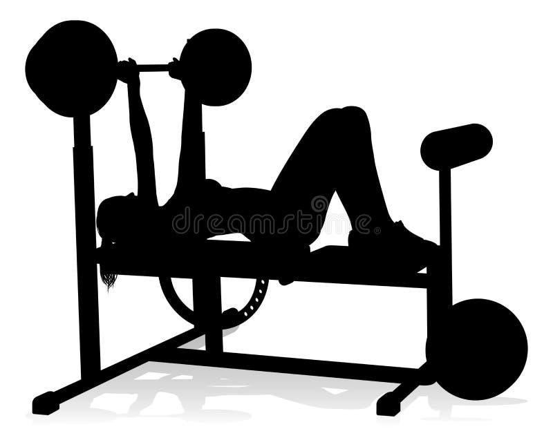 Van het Silhouetgewichten van de gymnastiekvrouw de Bank Barbell royalty-vrije illustratie