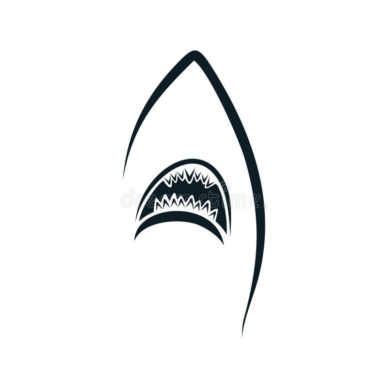 Van het silhouetillustraties van de haaimond het vectorconcept stock illustratie