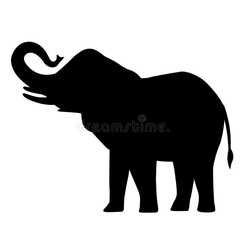 Van het het silhouetpictogram van het olifantsbeeldverhaal van de de olifants Aziatische olifant de bos Afrikaanse struik met gro stock illustratie