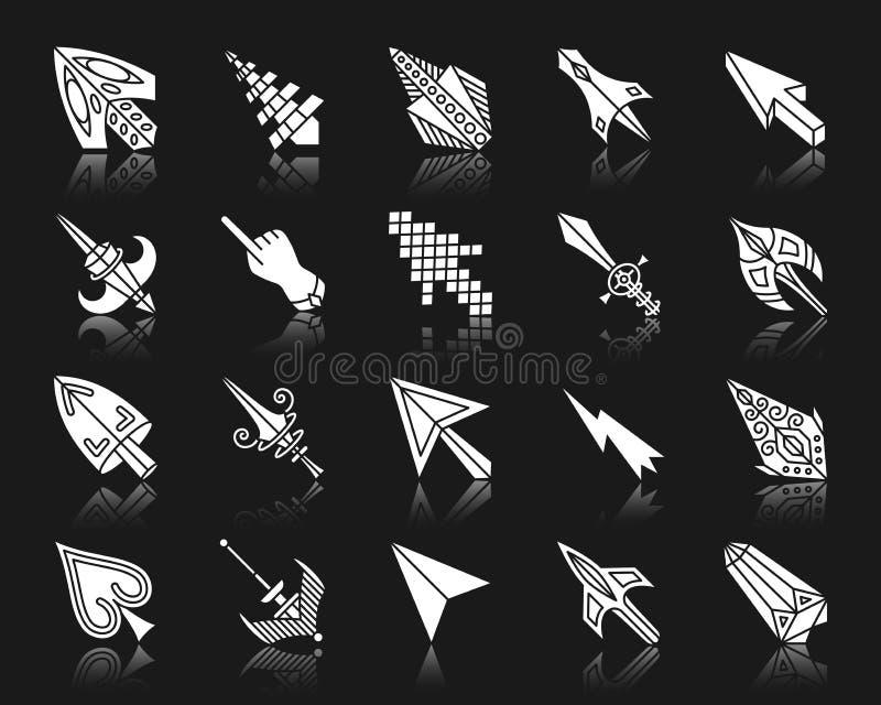 Van het silhouetpictogrammen van de muiscurseur de witte vectorreeks stock illustratie