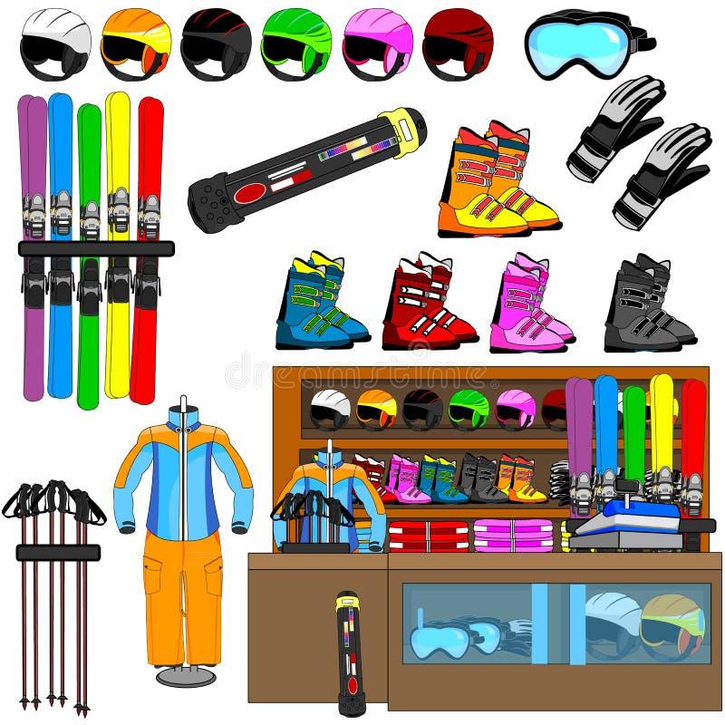 Van het skiwinkel en materiaal hulpmiddelenvector stock afbeeldingen