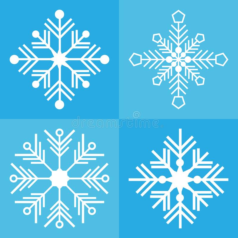 Van het sneeuwvlok vectorpictogram vastgestelde blauwe kleur als achtergrond vector illustratie