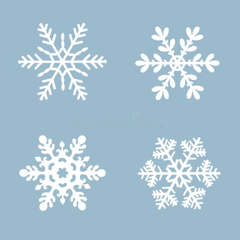Van het sneeuwvlok vectorpictogram vastgestelde witte kleur als achtergrond Element van het de sneeuw vlakke kristal van de winte vector illustratie