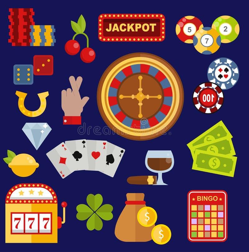 Van het spel de vectorpictogrammen van de casinogokker de pooksymbolen en de kaarten winnende pictogrammen van het gokkersgeld va vector illustratie